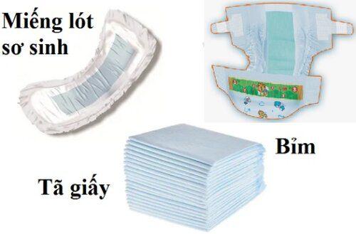 Đặc điểm nhận dạng của bỉm, tã giấy và miếng lót sơ sinh