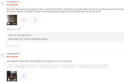 Phản hồi của người dùng trên Shopee