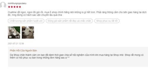 Phản hồi của người dùng về sản phẩm trên Shopee