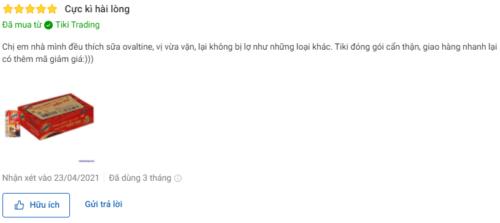 Đánh giá của người dùng trên Tiki